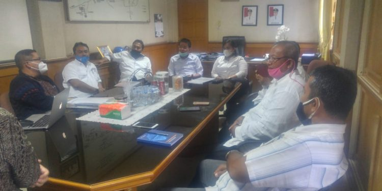 Rapat PDAM Tirtauli dengan tim IUWASH membahas program KKMA, Rabu (9/9/2020).