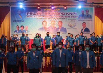 Pelantikan DPD Komite Nasional Pemuda Indonesia (KNPI) Siantar Periode 2020 -2023, di Hall Room International Hotel, Pematangsiantar,  Sabtu (29/11) malam.