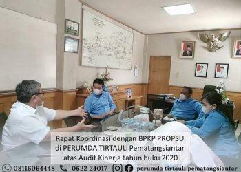 Rapat koordinasi Perumda Tirtauli dengan BPKP Provinsi Sumatera Utara, Senin (24/5/2021).